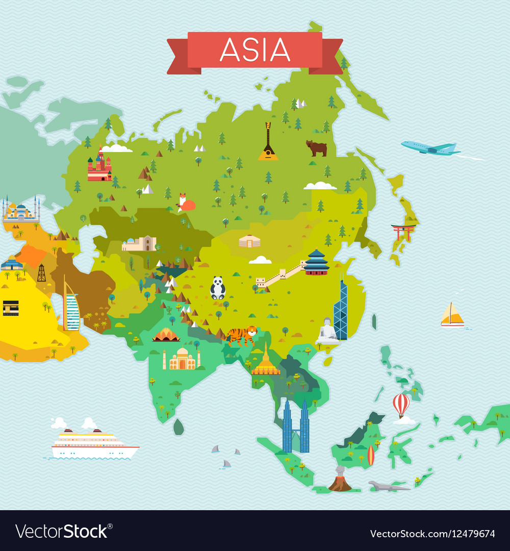 Map of Asia vector image
