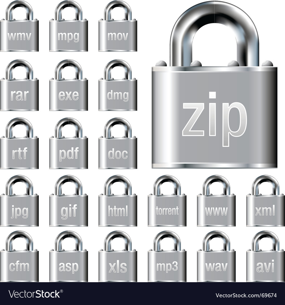 Secure file icons vector image