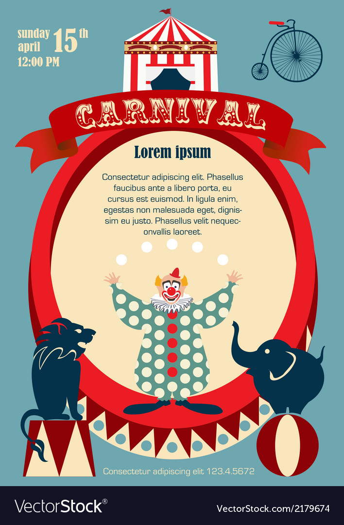 Vintage carnival or circus invitation vector image