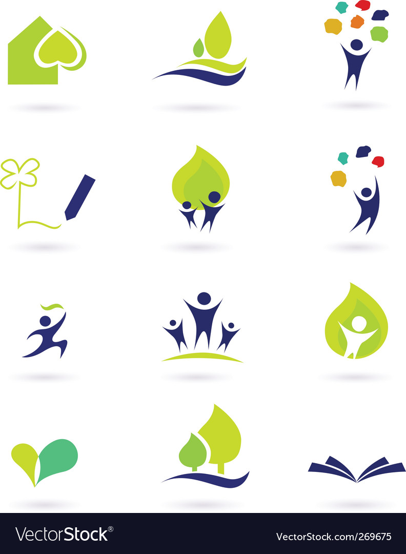 School and nature icons Vector Image