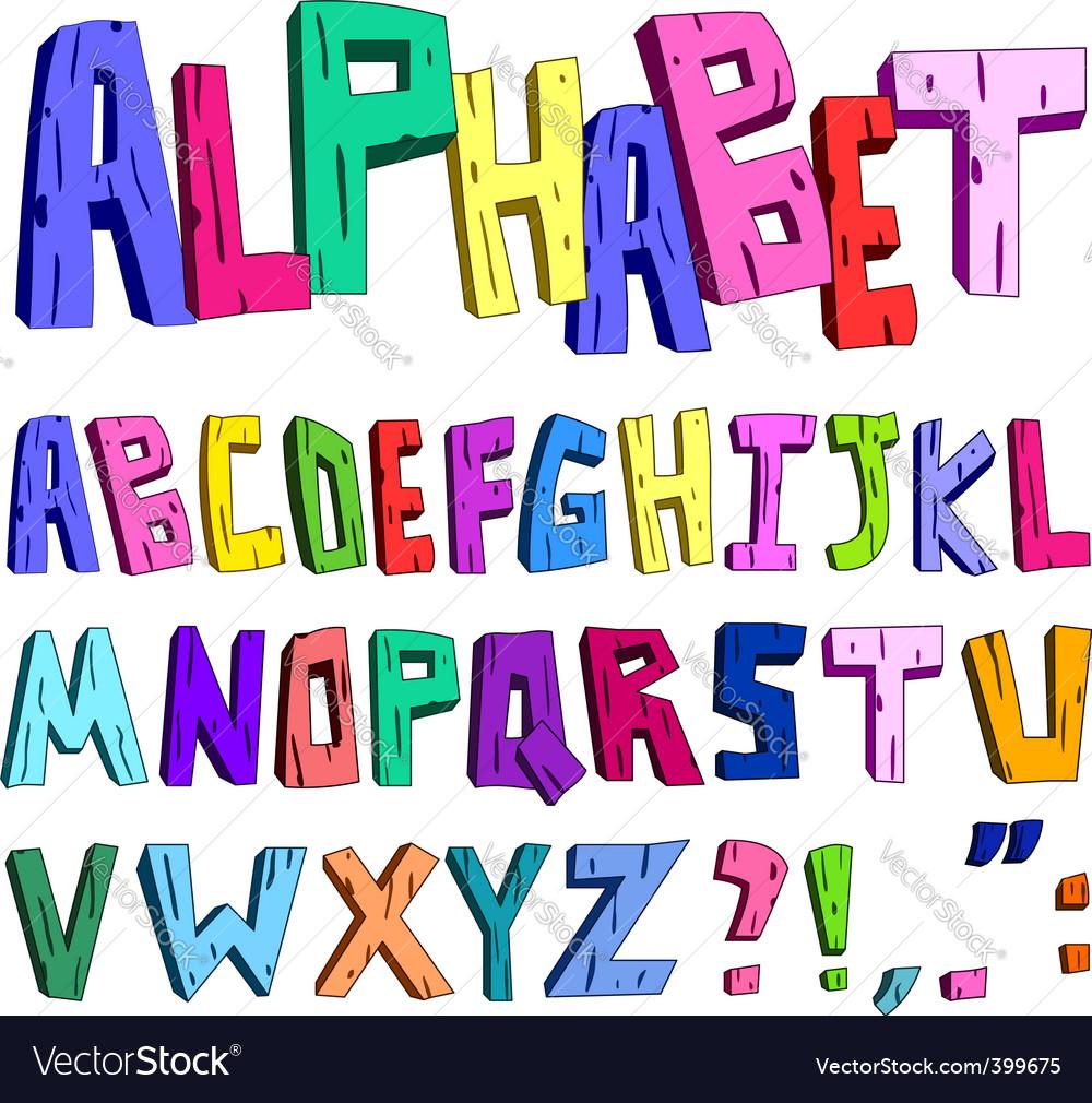 3d cartoon alphabet vector image