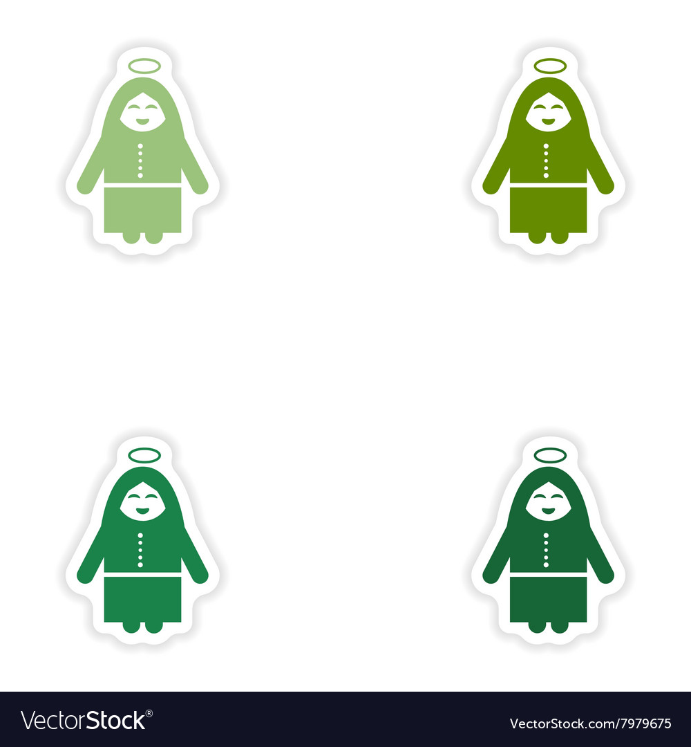 Set of paper stickers on white background Virgin