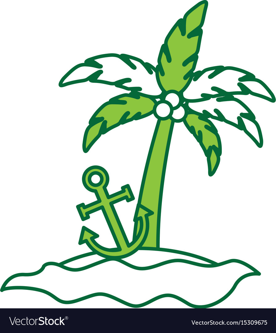 Tree palm with anchor summer icon vector image