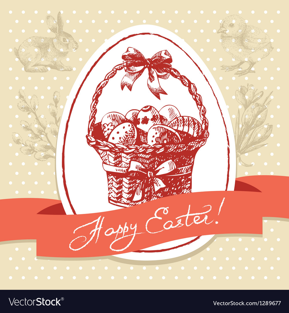 Vintage Easter background hand drawn vector image