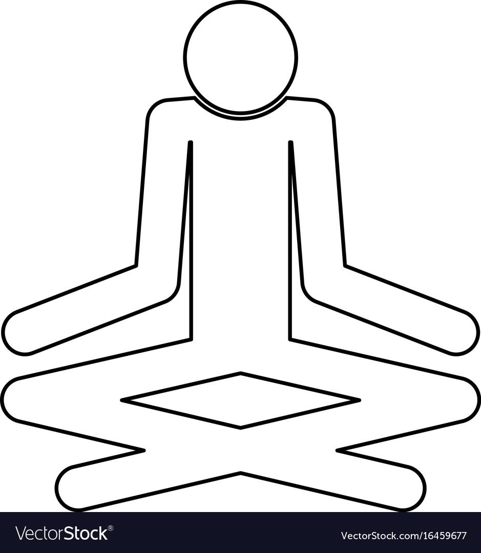 Man yoga stick black color icon vector image