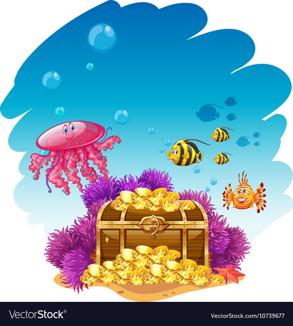 Uderwater scene with treassure box and fish vector image