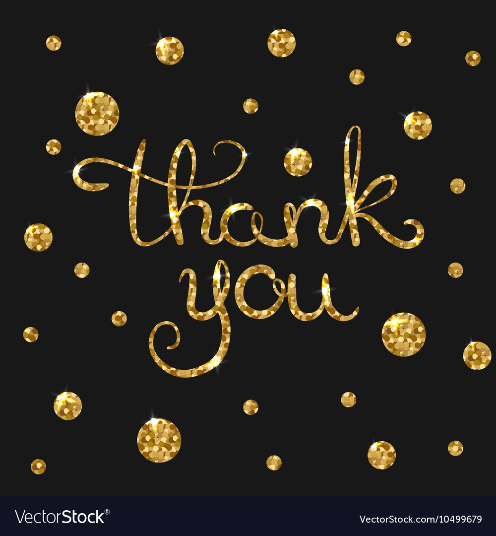 Thank you golden text for card Modern brush vector image