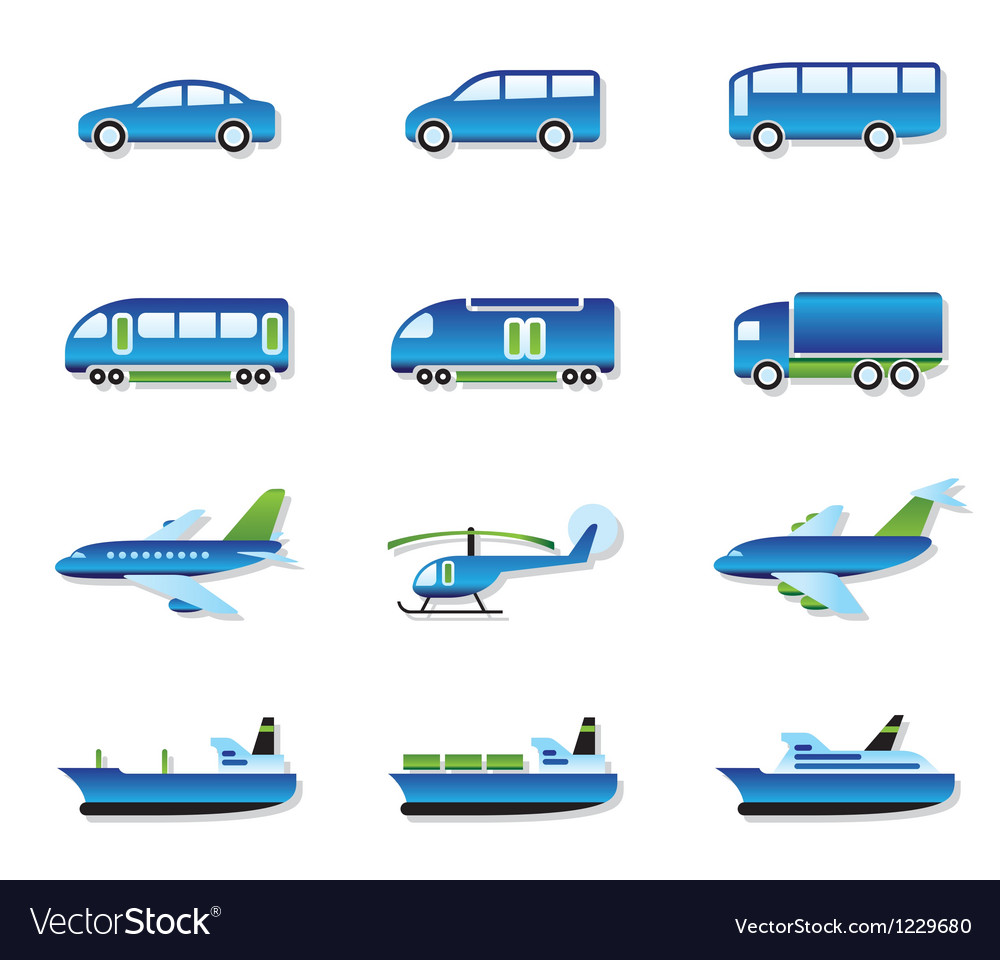 Road air rail and water transport vector image