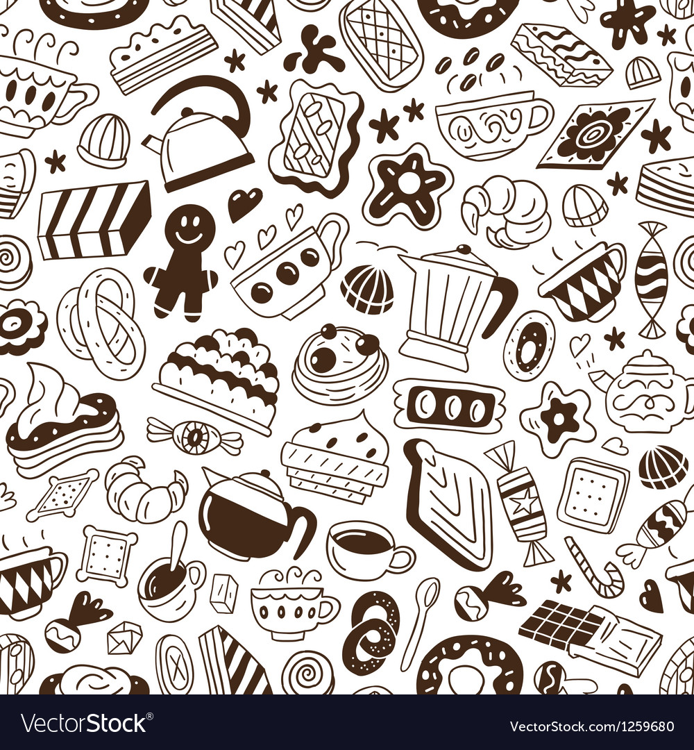 Coffee and sweets - seamless pattern vector image