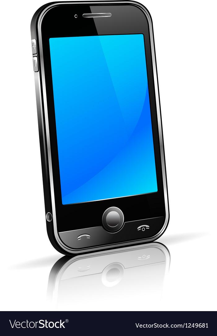 Black Mobile Cell Smart Phone Vector Image
