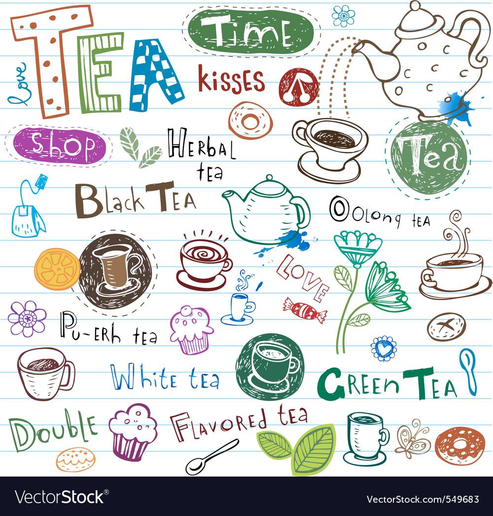 Tea doodles vector image