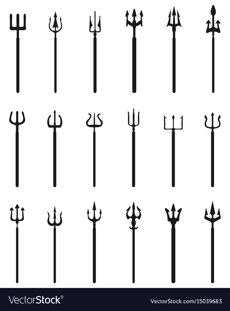 Trident black silhouettes vector image