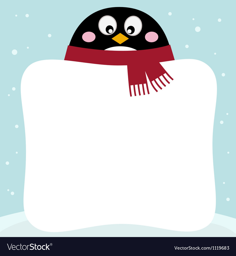 Winter retro penguin with blank banner vector image