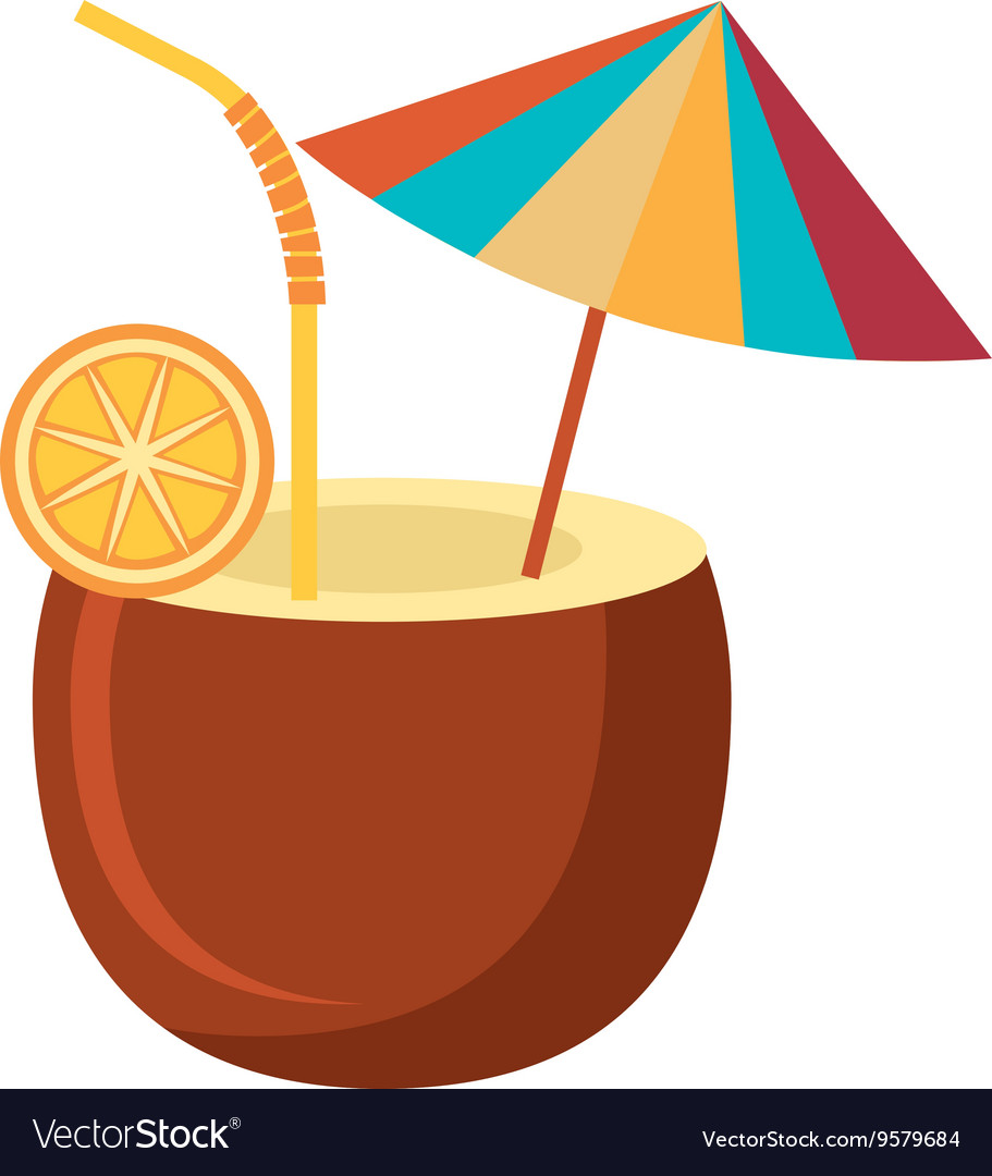 Coconut Drink And Beach Umbrella Graphic Vector Image
