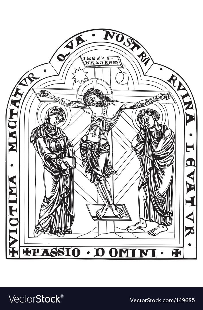 Antique religious book engraving vector image