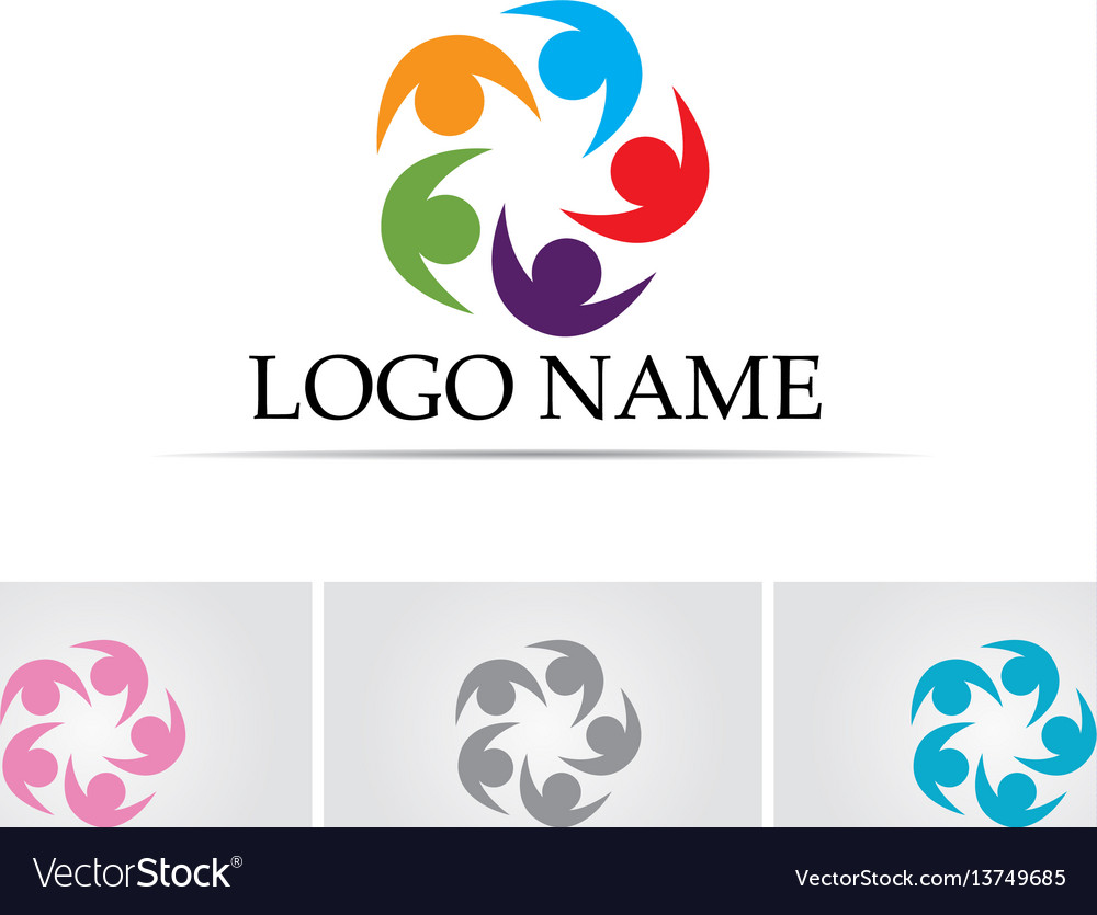 Community people logo five team vector image