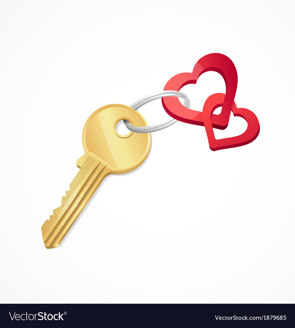 House keys with Red heart Key chain vector image