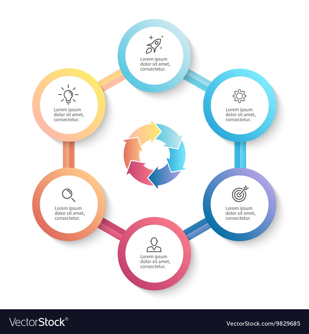 Infographic business template with 6 options vector image