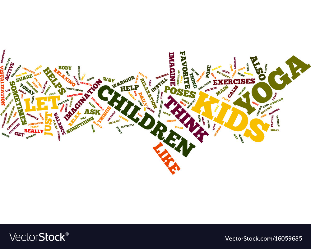Yoga for kids text background word cloud concept vector image