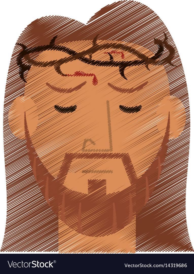Drawing face jesus christ crown design vector image