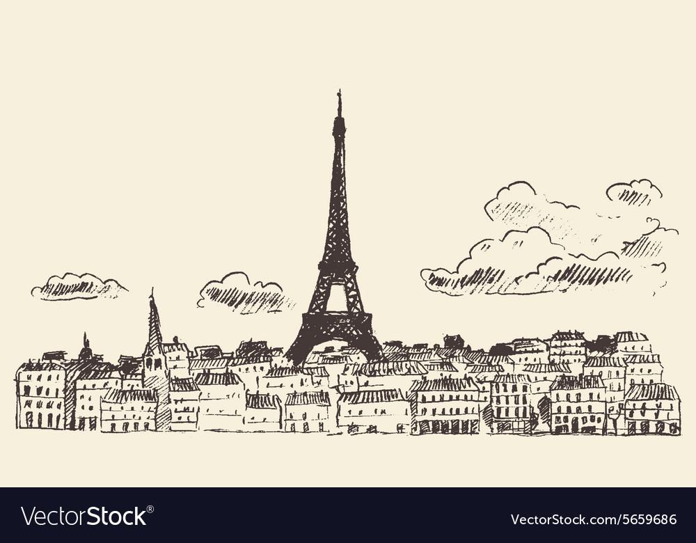 Paris skyline France eiffel sketch drawn vector image