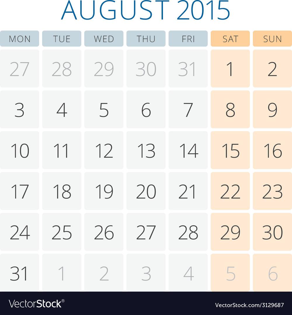 Calendar 2015 August design template vector image