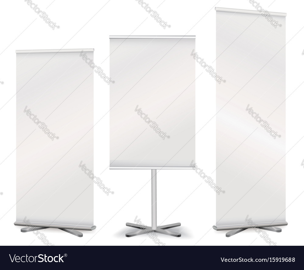 Blank roll up advertising promotion counter set vector image