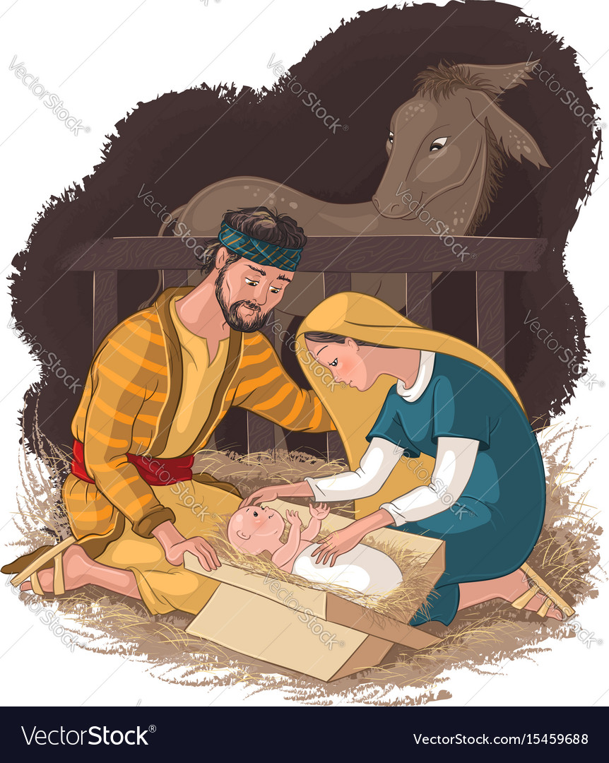 Nativity scene with jesus mary and joseph vector image
