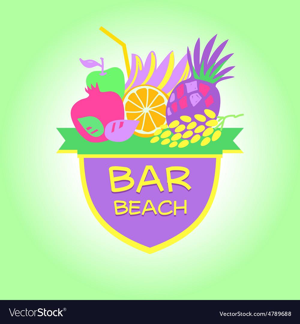 Template logo Beach bar party vector image