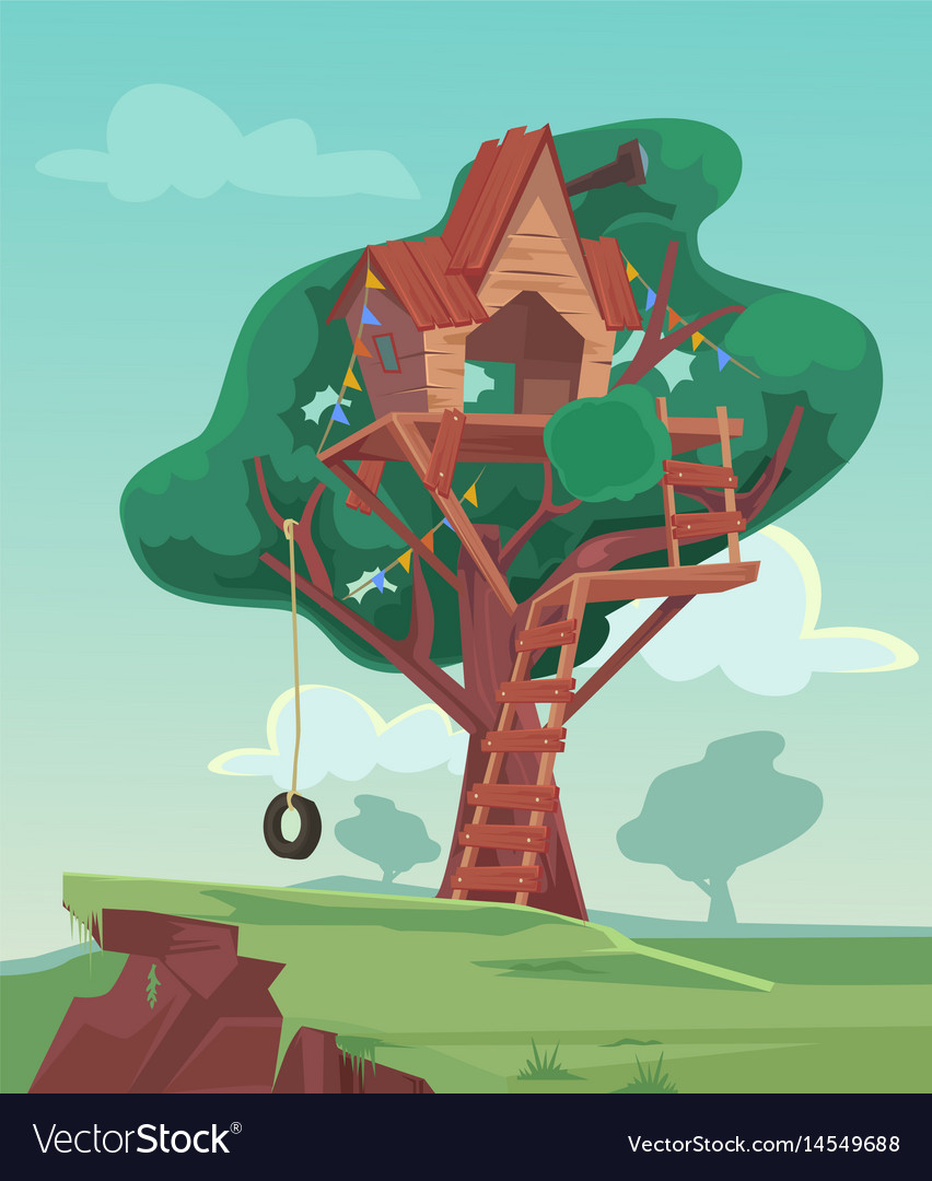 Tree house flat cartoon vector image