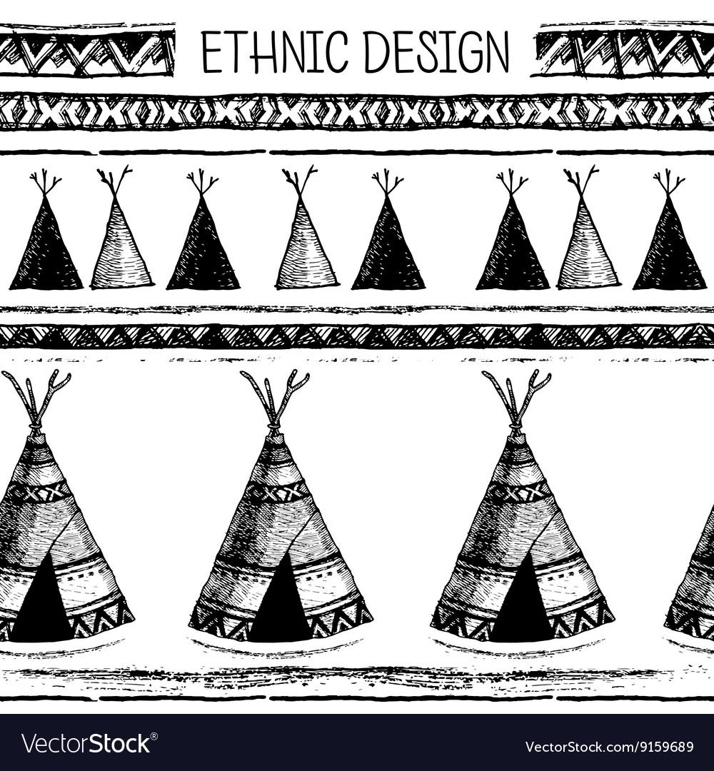 Ethnic seamless pattern Native american tent vector image  sc 1 st  VectorStock & Ethnic seamless pattern Native american tent Vector Image