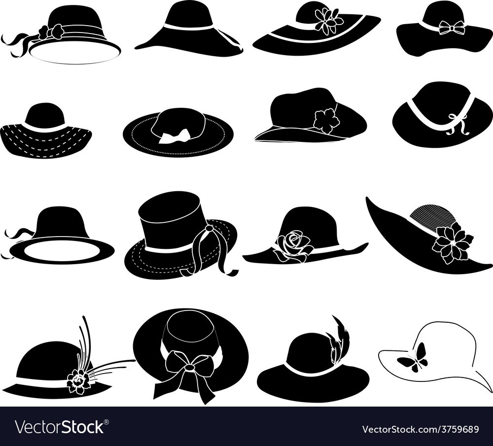 Ladies hats icons set vector image