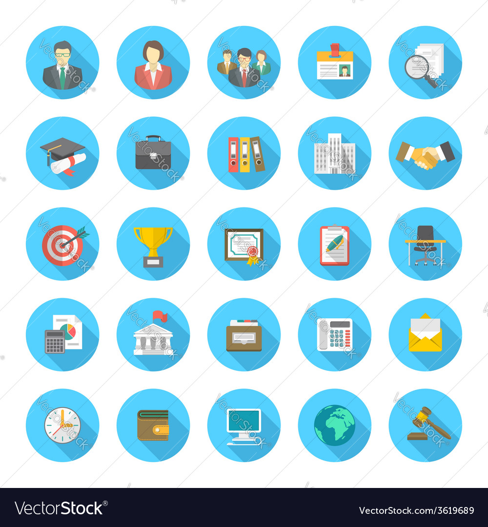 round flat resume icons royalty free vector image