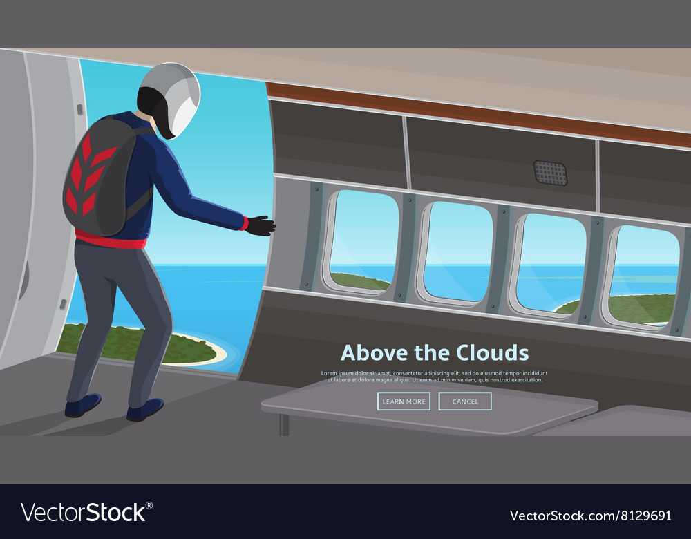 Parachutist jumping out of an plane vector image