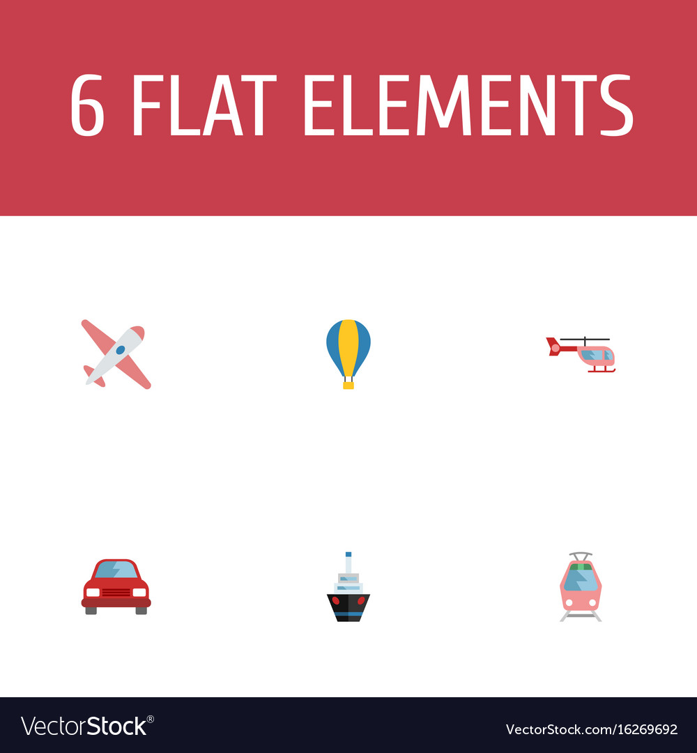 Flat icons chopper automobile aircraft and other vector image