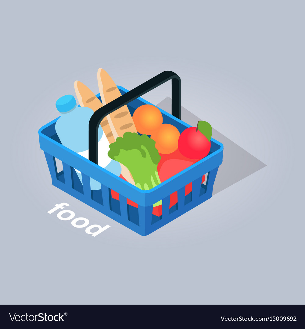 Food in basket from grocery store vector image