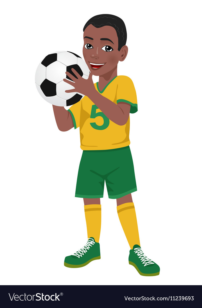 Boy soccer player holds ball vector image
