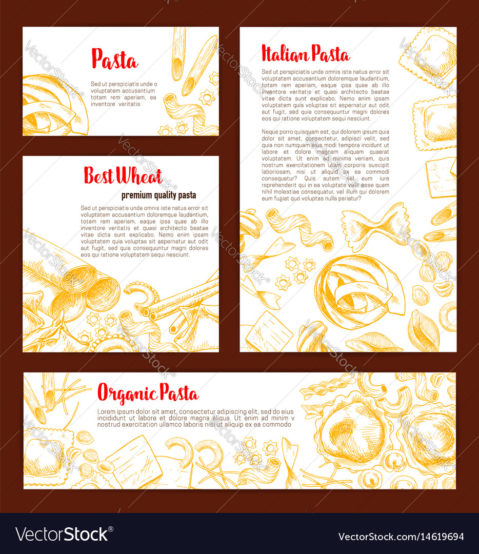 Italian pasta banner template set for food design vector image