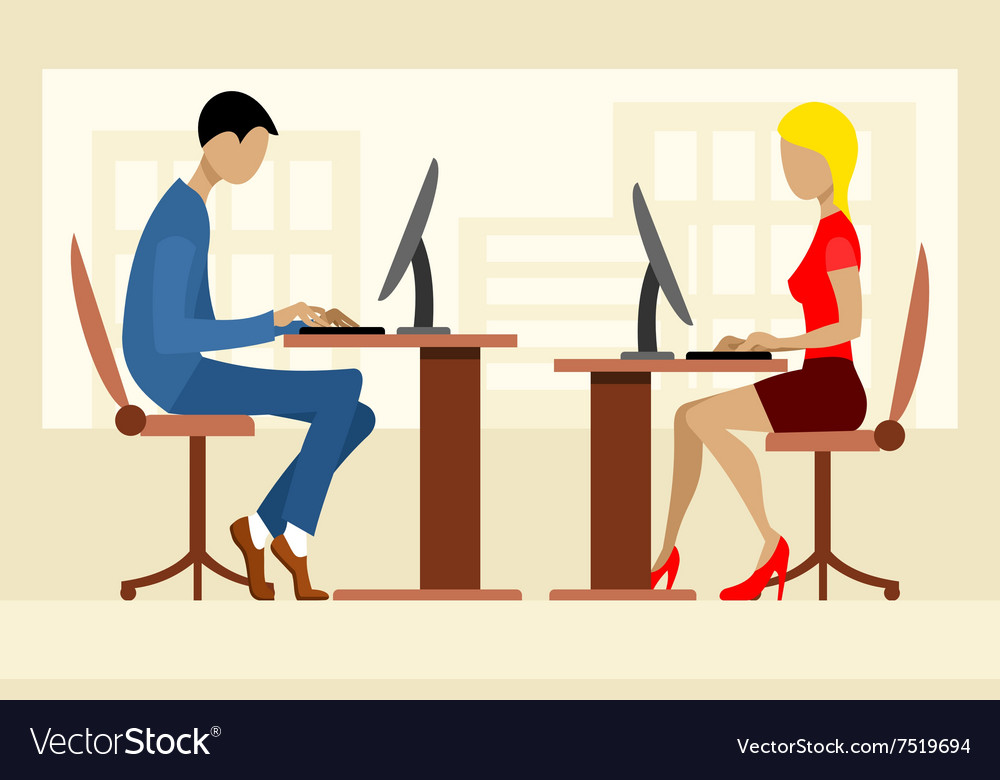 Two office workers vector image