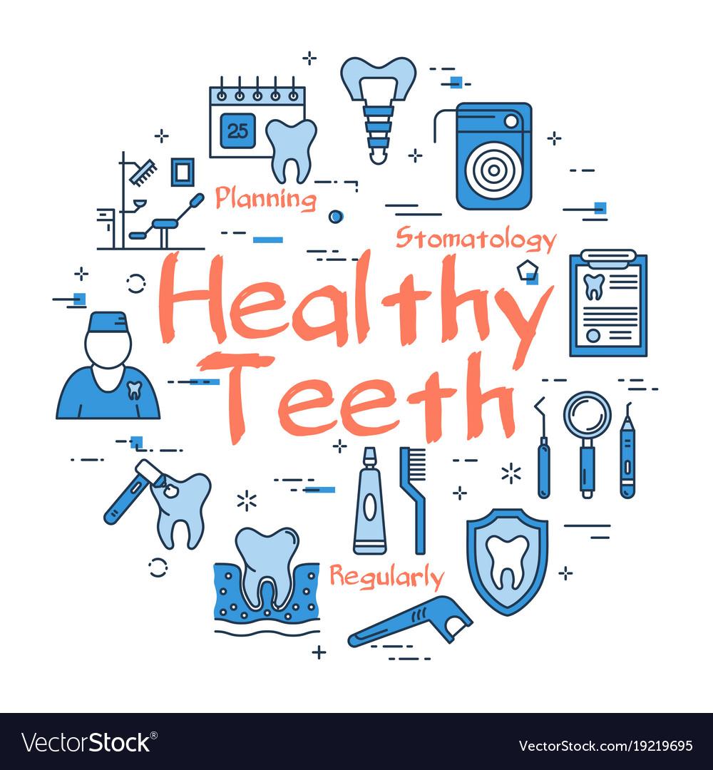 Blue round healthy teeth concept vector image