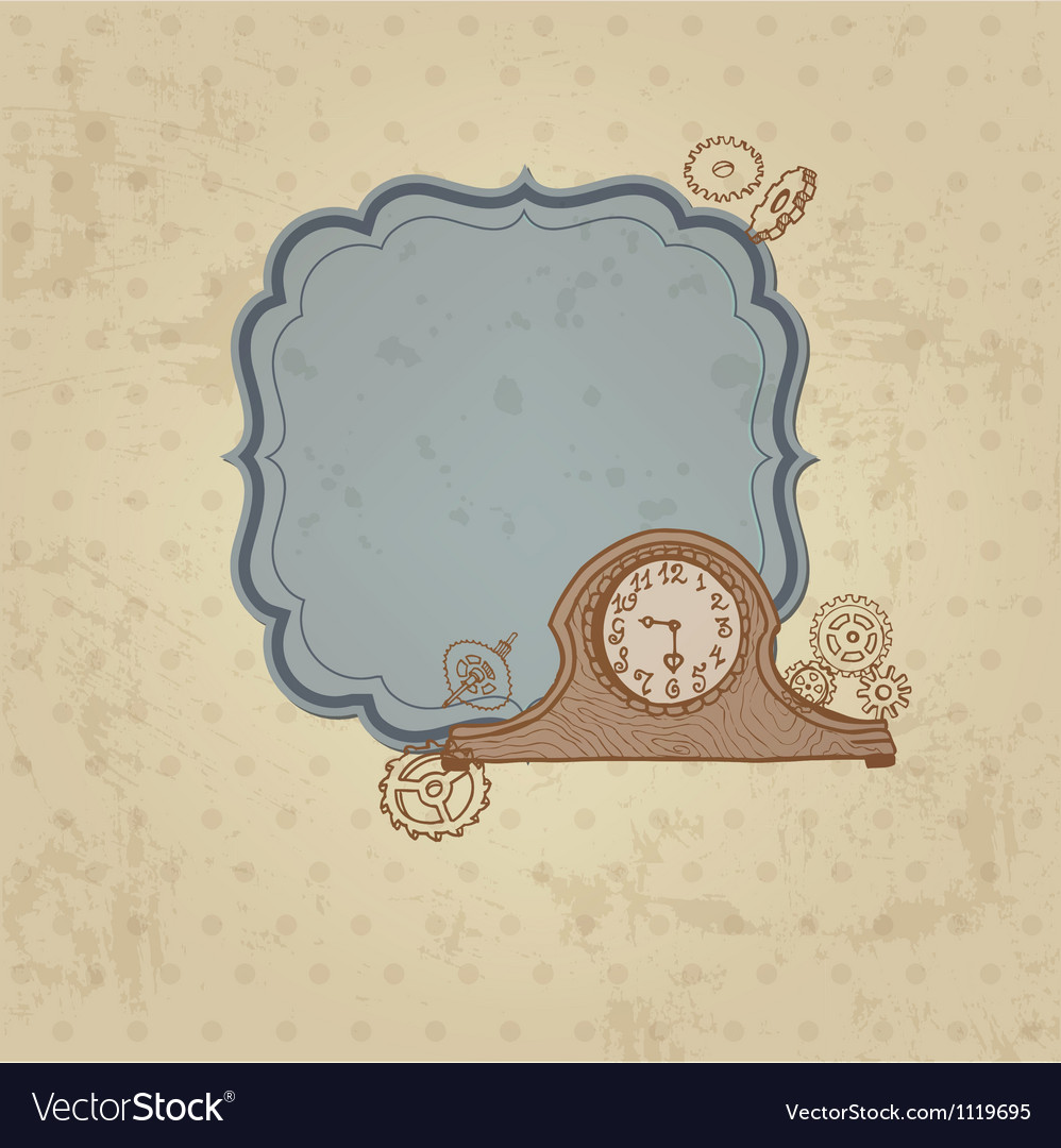 Vintage Card with Doodle Clock and gear vector image