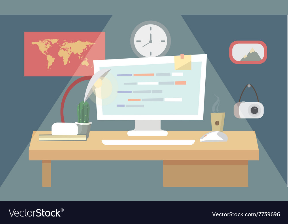 User programming coding in flat design stylish vector image