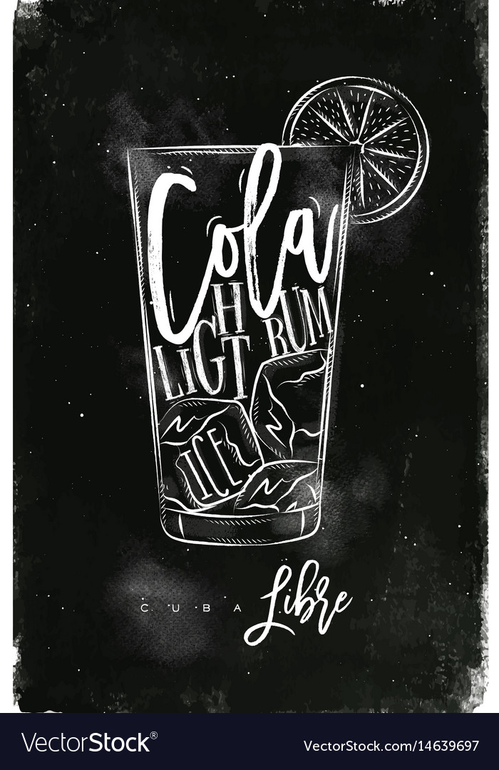 Cuba libre cocktail chalk vector image
