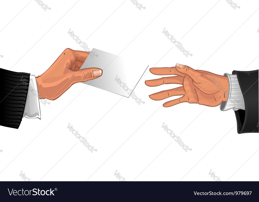 Male hand pass white glossy business card vector image reheart Choice Image