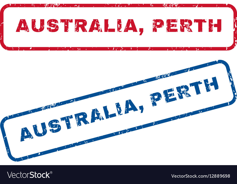 Australia Perth Rubber Stamps vector image