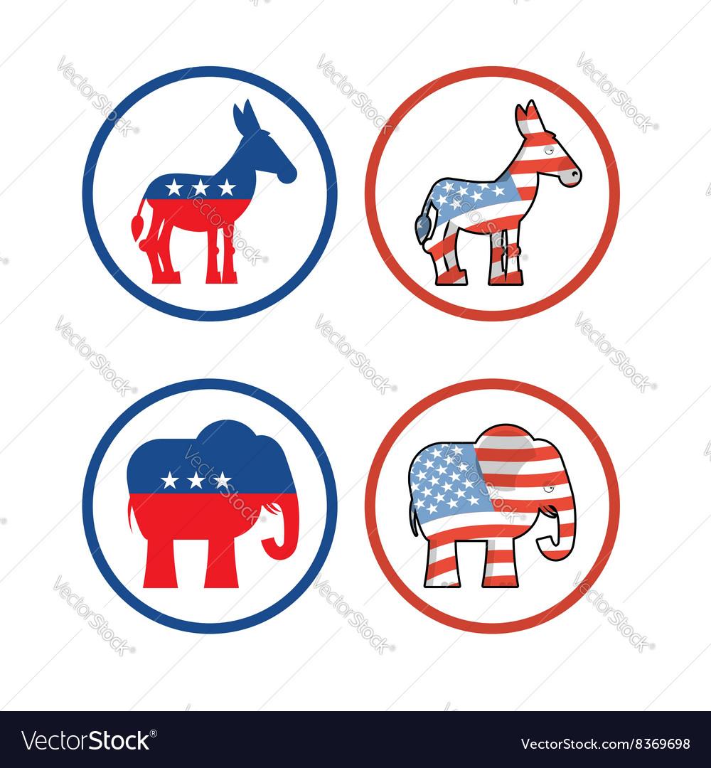 Democratic donkey and republican elephant symbols vector image democratic donkey and republican elephant symbols vector image buycottarizona