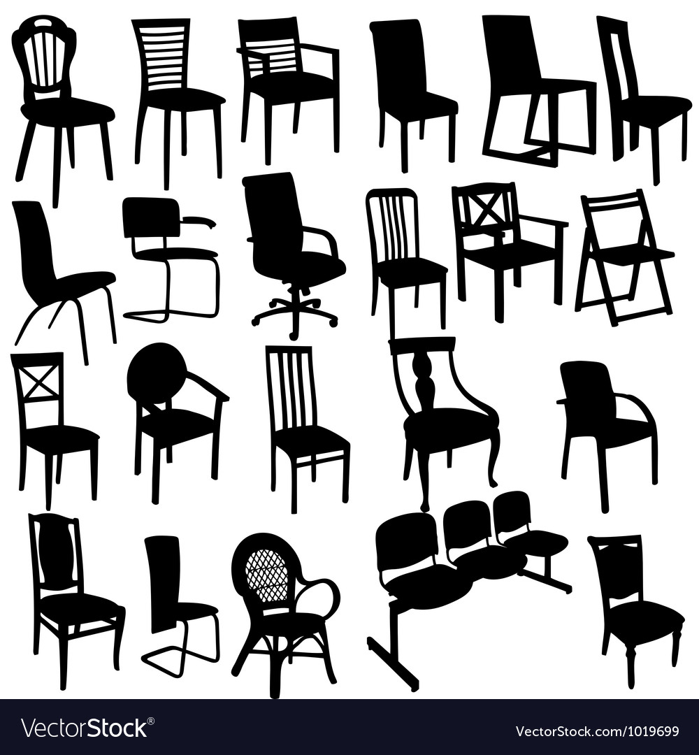 Set of Armchairs Silhouettes vector image