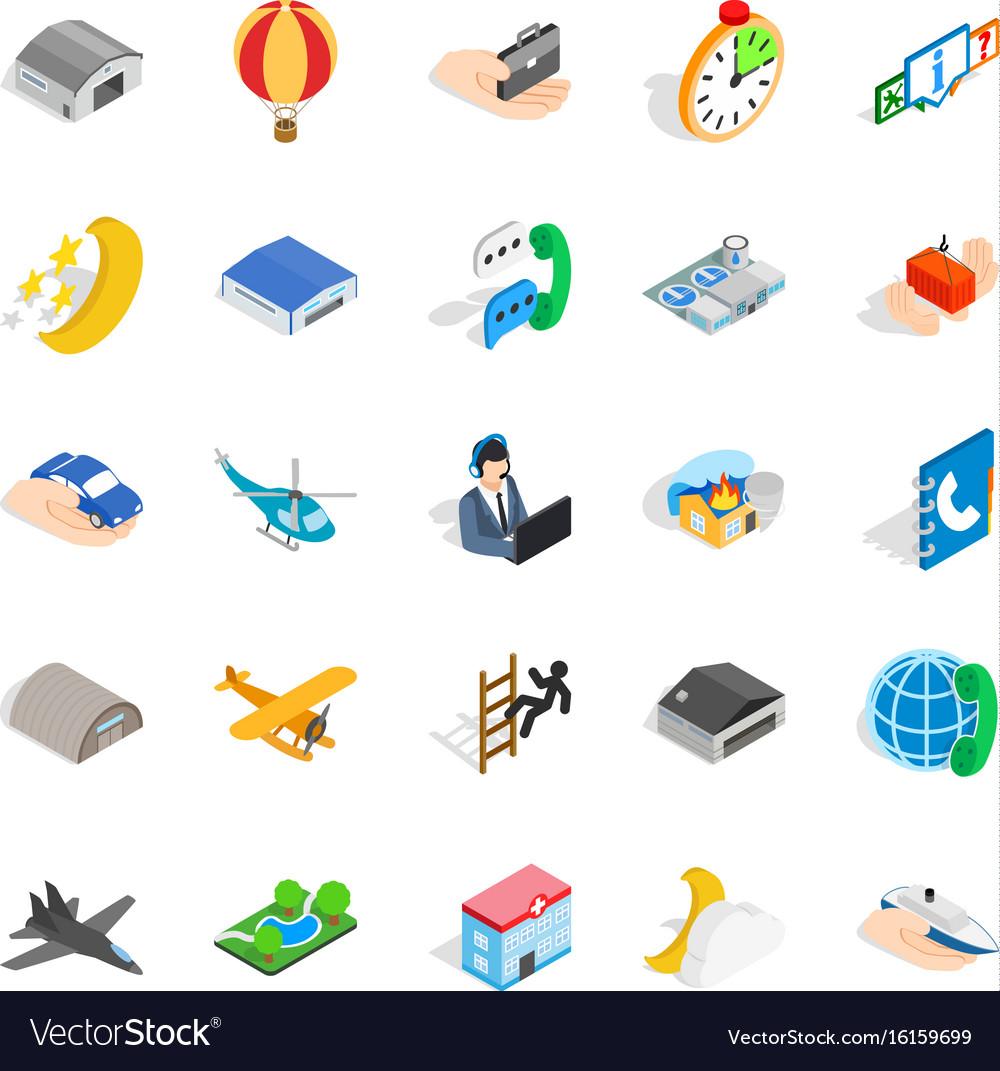 Notification center icons set isometric style vector image
