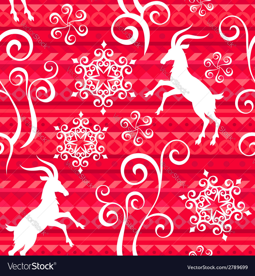 Pattern goat year red vector image