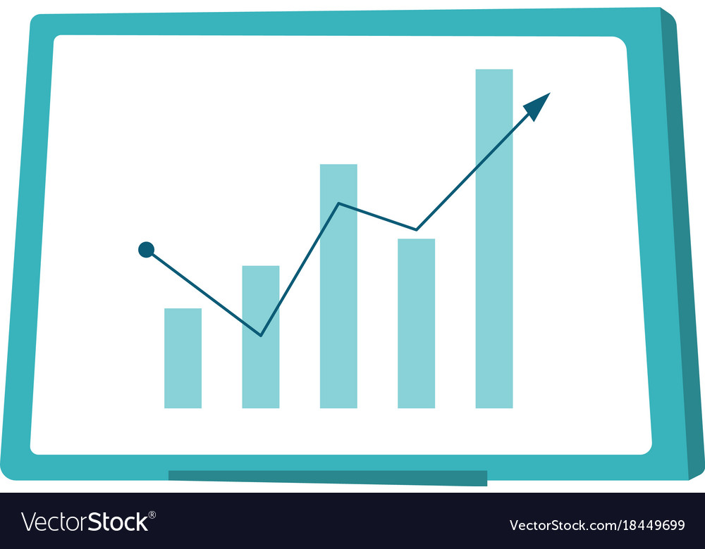 Whiteboard with growing bar chart cartoon vector image